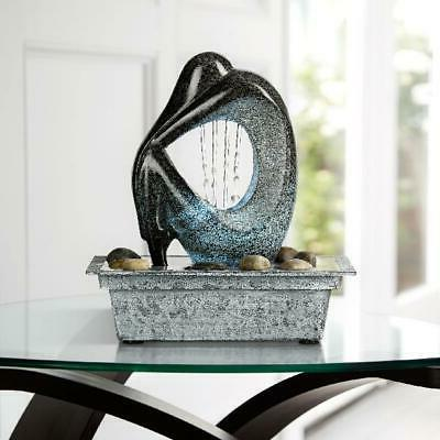 """John Timberland Tabletop Water Fountain LED Light 10"""" In Silhouette"""
