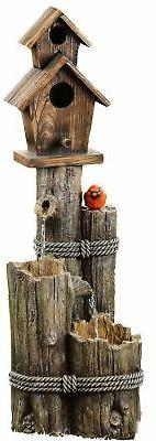 Alpine Three-Tiered Birdhouse w/Cardinal Fountain, 35 Inch T