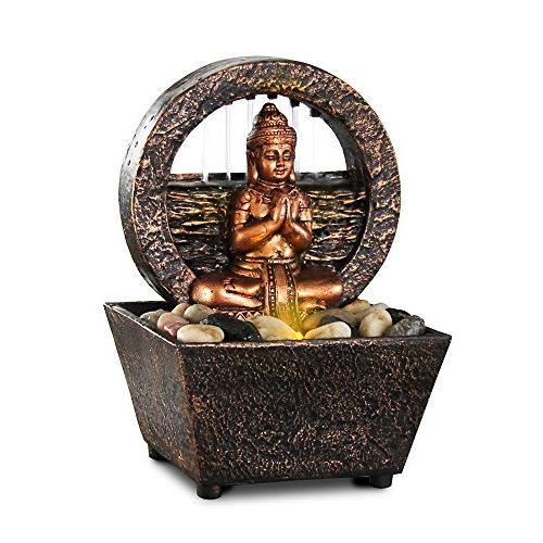 tranquil buddha tabletop fountain dual