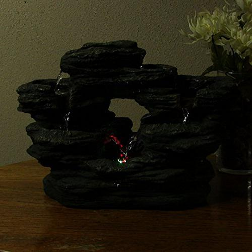 Sunnydaze Two Rock Tabletop with LED Lights, Inch x 9 Inch Tall