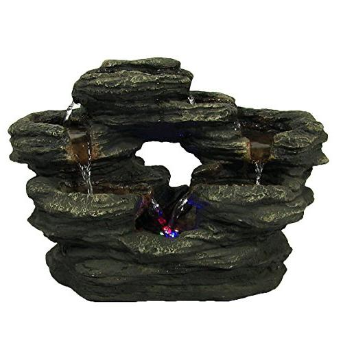 two stream rock tabletop fountain