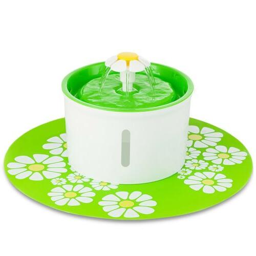 US Cat Dog Water Drinking Flower Fountain Filter