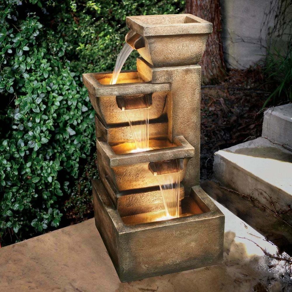 water fountain garden patio rustic