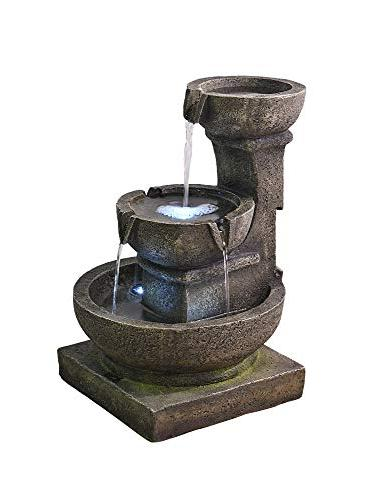 """Valentinyii Outdoor Waterfall - 16"""" H 3-Tier Home Water Fountain Light Relaxing for Garden &"""
