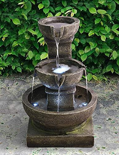 """Valentinyii Outdoor Waterfall - 16"""" Home Light Soothing Relaxing for Garden &"""