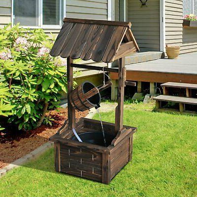 wishing well wooden outdoor electric water fountain
