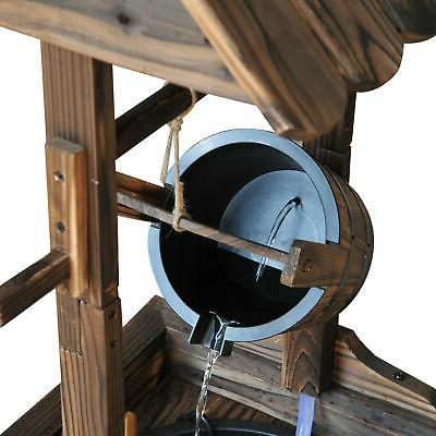 Wishing Well Wooden Electric Water Decorative w/Pump