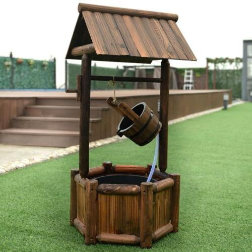 wishing well wooden water fountain with pump