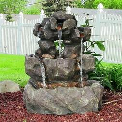 Sunnydaze Layered Rock Waterfall Outdoor Fountain with LED L