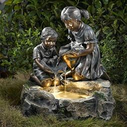 """24"""" Lighted Brother and Sister Bronze Finish Outdoor Patio"""