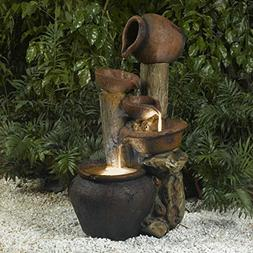 """33"""" LED Lighted Rustic Rocks and Urn Pots Outdoor Patio Ga"""