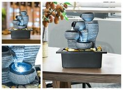 Indoor Water Fountain Lighted Tabletop Waterfall Tiered Desk