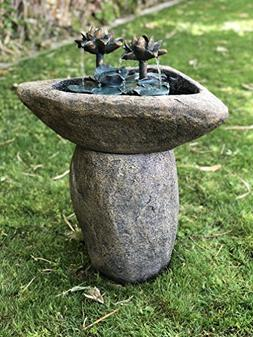 Alpine Lotus Rock LED Fountain, 30 Inch Tall