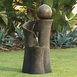 "Modern Sphere Curve Cascading 39 1/2"" High Fountain"