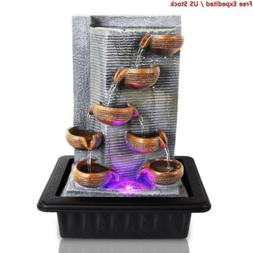 SereneLife Multi Tiered Desktop Electric Water Fountain Deco