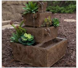 NEW Small Solar Stone Look Outdoor Water Fountain Tiered Zen