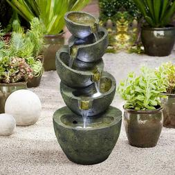 Outdoor 5 Tier Bowls Floor Water Fountain Cascading Bowls LE