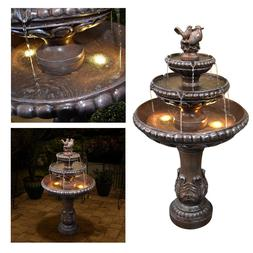 "Outdoor Floor Water Fountain 48"" High Three Tiered for Yard"