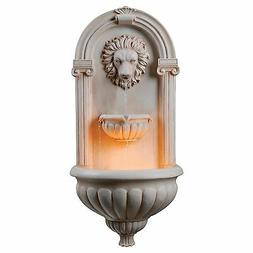 Outdoor Lion Head Sandstone Finish Wall Mount Patio Water Fo