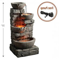 Peaktop - Outdoor Stacked Stone Tiered Bowls Fountain w/ LED
