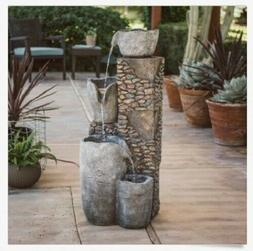Outdoor Water Fountain Resin Stone Lights Cascade Tiered Lar