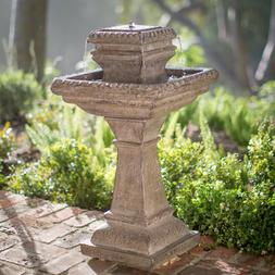 Outdoor Water Fountain Tiered Stone Pedestal 33 inch Solar O