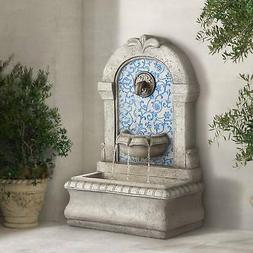 "Outdoor Water Fountain with 30.25"" High and Blue Tile Faux S"