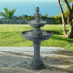 "Outdoor Water Fountain with 44"" High Grey 3-Tier Pineapple f"