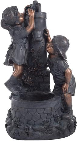 Outdoor Water Fountain With Boy and Girl Antique Bronze Desi
