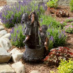 Pure Garden Outdoor Water Fountain With Boy and Girl