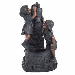 Pure Garden Outdoor Water Fountain With Boy and Girl, Antiqu