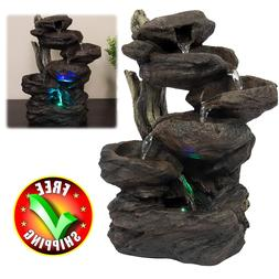 patio fountain with led light water garden