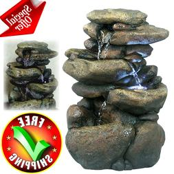 Patio Fountain With LED Lights Water Garden Outdoor Lawn Yar