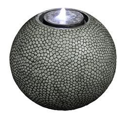"Pebble Sphere 19"" Fountain w/LED Light: Large Ball Water Fea"