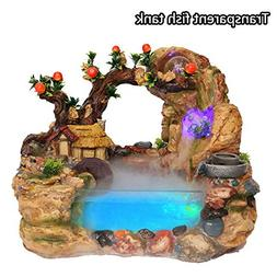YAMEIJIA Polyresin Water Flow Fountain Home Decor Table Top