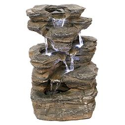 Resin Devil's Thumb Falls Illuminated Garden Fountain with L