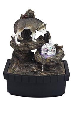 OK Lighting Resin/Fibreglass Wolf Table Fountain with LED Li