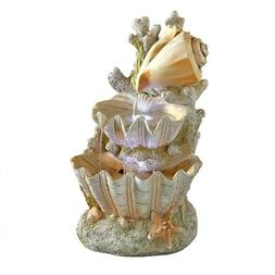 Resin Ocean's Bounty Cascading Shell Garden Fountain with LE