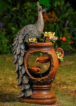 Jeco Inc. Resin Peacock Water Fountain with LED Light