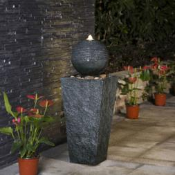 Glitzhome Rippling Floating Sphere Pedestal Outdoor Water Fo
