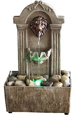 Rustic LION Indoor Water Fountain Tabletop Waterfall Relaxat