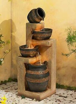 "Rustic Outdoor Floor Water Fountain with Light 46"" Cascading"