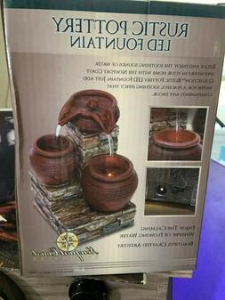 rustic pottery led fountain w flowing water