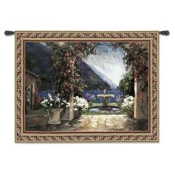 Seaside Fountain Art Tapestry Wall Hanging Made in USA ~ Siz