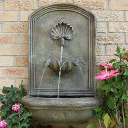 Sunnydaze Seaside Outdoor Wall Mounted Water Fountain with E