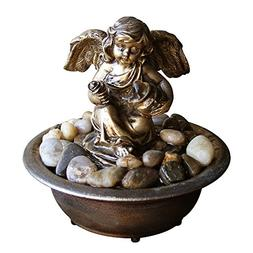 Natures Mark Serene Cherub Relaxation Water Fountain with Au