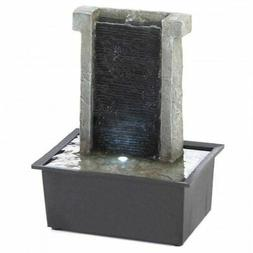 Serene Stone Wall Tabletop Cascading Water Fountain w/LED Ho