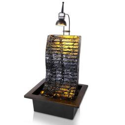 SereneLife Waterfall Electric Water Fountain Decor w/ LED li