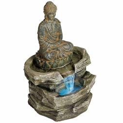 Sitting Buddha Rustic Zen Outdoor Floor Water Fountain with