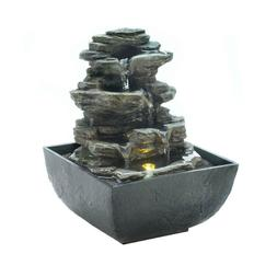 small faux rock stone Zen LED light flowing indoor table top
